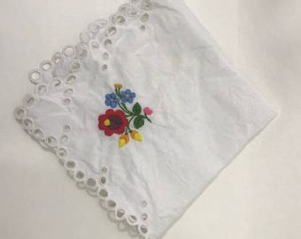 Vintage Embroidered Handkerchief Something Old