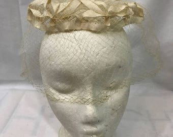 Antique Birdcage Netted Bow Halo Fascinator