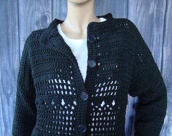ON SALE Crochet Cardigan, Black Cardigans, Black Cardigan, Cotton Cardigan, Crocheted Cardigans, Crochet Cardigans, Cardigans, Available in