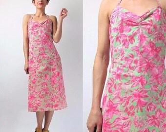 30% Off FLASH SALE Vintage 90s Betsey Johnson Dress Hawaiian Halter Neck Dress Cotton Summer Sun Dress Knee Length Wiggle Dress 50s Style Pi