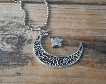 Silver Moon & Star Necklace   Filigree Cresent Charm with Unique Handmade Pewter Star Charm   Celestial Pendants on Long Ball Chain