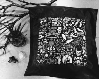 Gothic Magic Skull Square Pillow - Dark Boho Halloween Black Velour Faux Leather / Skull Bedding Decor