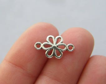14 Flower connector charms antique silver tone F205