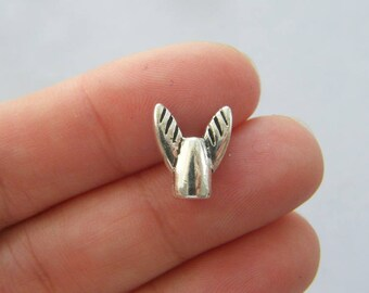 12 Angel wing spacer beads antique silver tone AW122