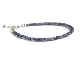 Iolite bracelet, sterling silver bracelet, water sapphire bracelet, stacking bracelet, iolite jewelry