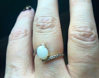 Opal Ring - Diamond Ring - 10k Gold - Vintage