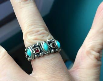 Turquoise Garnet Ring - Sterling Silver - Vintage