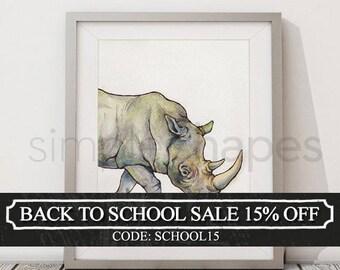 Rhino Art Watercolor Painting Print African Safari Nursery Wall Art Rhinoceros Watercoloring Boys Room Girls Room Animal Painting Artwork