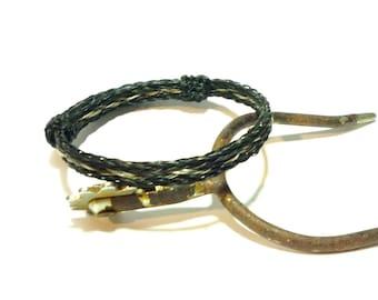 Horsehair Adjustable Bracelet - Braided Horsehair Triple Braid Black with Grey and Sorrel