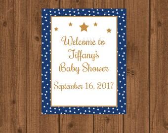 Stars Baby Shower, Twinkle Twinkle Baby Shower, Blue Gold Baby Shower Welcome Sign, Baby Shower Welcome Sign, Welcome Door Sign, Blue Gold