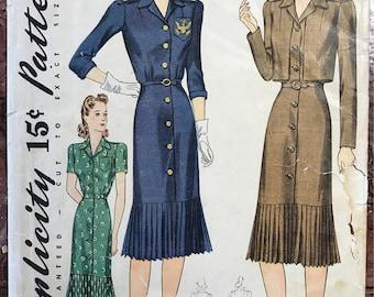 1940's Dress and Bolero - Simplicity Pattern # 3694 - Wartime Fashion w/ Pleated Flounce - Uncut - Size 16, Bust 34