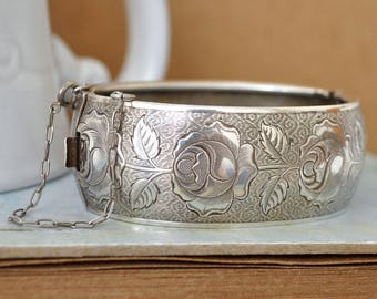 VINTAGE FIND vintage sterling silver bracelet bangle, large bangle, floral etched sterling silver bangle, rose bangle, silver rose bangle