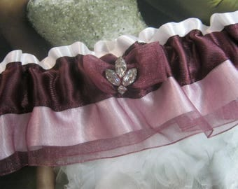 Plum Garter with Organza and White Satin