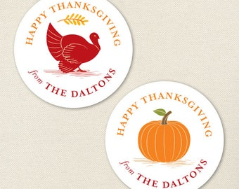 Thanksgiving Stickers - Turkey and Pumpkin - Sheet of 12 or 24