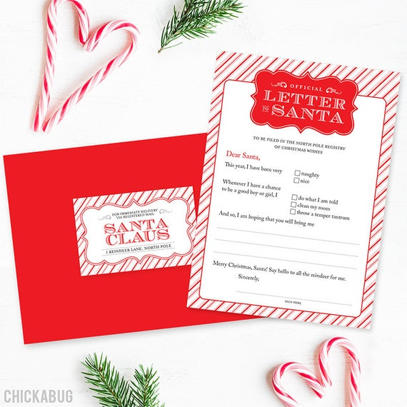 Original official letter to santa kit set of 4 cards red like this item spiritdancerdesigns Image collections