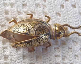 Vintage Figural Insect Damascene Brooch Spain