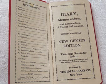 Vintage Diary 1919 New Census Edition Unused