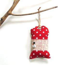 Balsam fir pine sachet, red white polka dots, tree trimming Christmas balsam sachet ornament, cinnamon scented, door knob pillow hanger