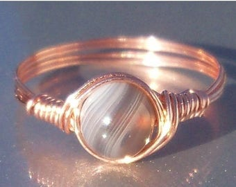 25% Off Sale Gray Botswana Agate Copper Wire Wrapped Ring