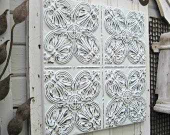 Vintage Ceiling Pressed Tin Tile. 2'x2' FRAMED Metal tile. Antique Architectural salvage, White home wall decor. Vintage metal.