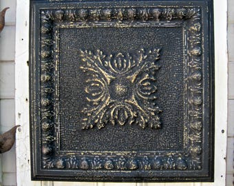 Vintage Ceiling Tin Tile, 10th Tin Anniversary Gift,  FRAMED Metal tile,  Antique Architectural salvage, Black distressed wall decor.