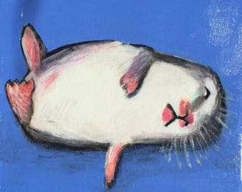 Original Acrylic Painting, Study Of A Hamster, Titled Hamster In A Coma