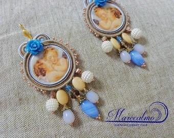 Angel earrings, Soutache earrings, soutache embroidered earrings, romatic earrings, italian style, cottage earrings, spanish earrings