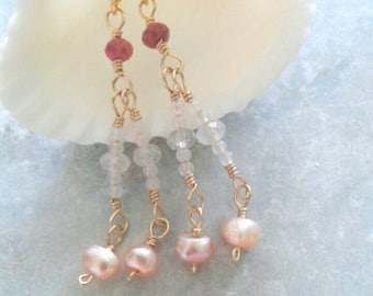 Gemstone dangle earrings, Freshwater Pearls Earrings, Sapphire drop earrings, Moonstone earrings, gold filled earrings