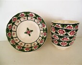 Cottage  Decor Adams Royal Ivory Titian Ware Red Rose Green Leaves Hand Painted