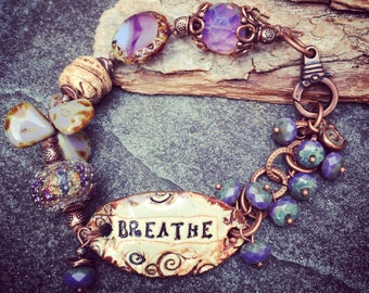 Breathe Bracelet, Word Jewelry, Spiritual Jewelry, Lampwork Bracelets,  Affirmation Jewelry, Purple Bracelet, Knotted Bracelet, YaYJewelry