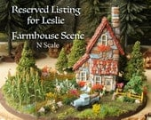 RESERVED for Leslie - The Old Farmhouse N Scale Scene w/ Landscaped Base, Farm Fields, Model A Truck, Pasture Fences, Horses, Farm Figures