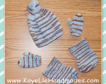 18 inch Doll Clothes - Fashion Doll - Dress and Pants - Toque, Mitts and Boots - Blue and Brown Multi