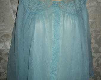 Vintage Chiffon and Lace Babydoll Nightgown