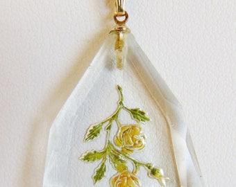 ON SALE Lovely Vintage Reverse Carved Glass Pendant Necklace 12K Gf