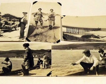 5 sepia fishing pier pictures 1920's