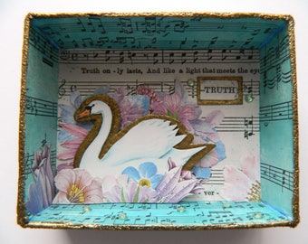 Swan Shadow Box, Floral Shadowbox, Truth Shadowbox, Matchbox Art, Small Art, Blue and pink, Collage Art, Pink and Gold, Bird Shadow Box