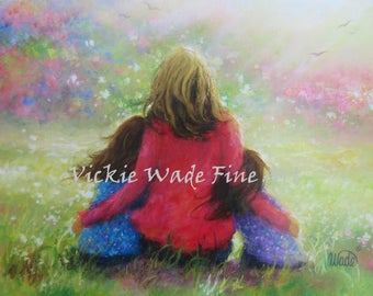 Mother Two Daughters Garden Art Print, mother's day gift, two sisters, two girls, brunette daughters, mother paintings, Vickie Wade Art