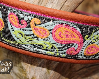 """Dog Collar """"Paisley Perfection"""" by dogs-art for Boy/Girl Dog. Can be made into a Buckle or Martingale Collar, leather dog collar, dog collar"""