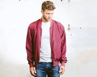 Men's SILK BOMBER Jacket . Oversized Vintage 90s Jacket Zip Up 80s Flight Jacket Purple Grunge Coat Outerwear . size Large