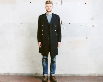 Men Winter Coat . Vintage 60s Jacket Military Navy Blue Pea Coat Wool Double Breasted Overcoat Officer Outerwear . size Small