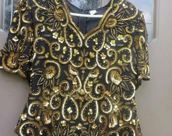 STUNNING 1980s  womens  black   silk with   gold beaded  silk evening shirt disco night sz xlarge