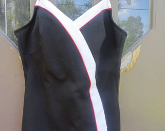 70s Robby Len Swimsuit * Black red white stripes Swims70s Bathing Suit *  Vintage Swimsuit sz 20   / 40