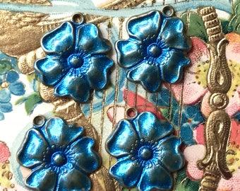 Sparkling Capri Blue Vintage flower Charms, Enamel Flower charms, flower Drops, Blue flower charms, enameled flowers, Rose Charms #1494N