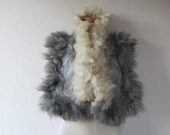 Alpaca Fur scarf Curly Felted collar Grey white felt collar Alpaca wool collar grey Fur scarf  Pure Wool Fleece real fur scarf outdoors gift