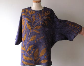 Felted sweater Wool Reversible tunic one of a kind pullover  Floral green women wool sweater  Purple felted tunic galafilc