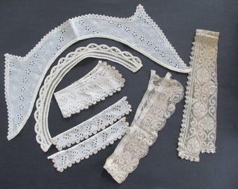 Antique Lace Collars and Cuffs Eyelet Filet Lace Tape Lace Repurpose as found