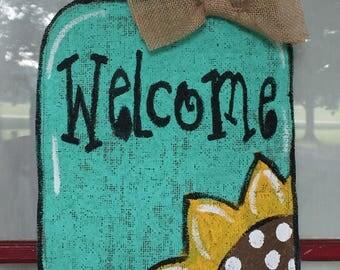Mason Jar Sunflower Welcome Summer Fall Burlap Decor Porch Bench