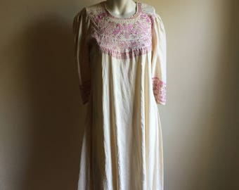Rare 70s Indian Vintage Cream Silk Dress