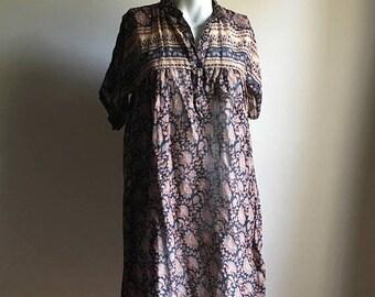 SUMMER SALE Rare 70s Tent Vintage Dress • Thin Cotton Dress • Free Size Dress