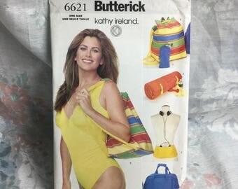 Butterick 6621, Kathy Ireland, Sports Accessories, yoga mat, gym bag, backpack, waist belt bag,  Sewing Pattern Uncut